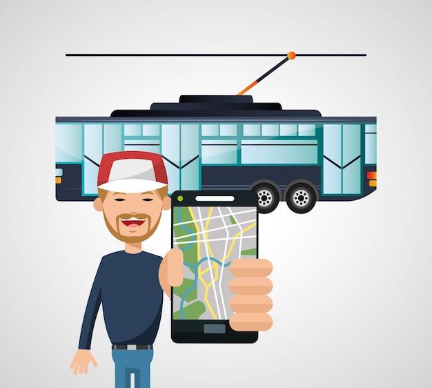 Straßenbahnfahrzeug und transport Premium Vektoren
