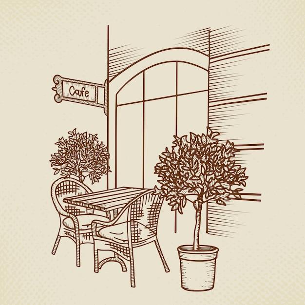 Straßencafé in der grafischen darstellung der altstadt. hand gezeichneter straßencafétisch, zwei stühle und pflanze. skizze für menüentwurf, skizzenrestaurant, außenarchitektur, papierweinleseillustration Premium Vektoren