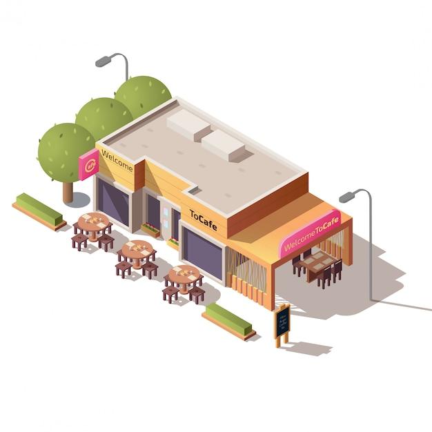 Straßencafégebäude mit terrassenvektor im freien Kostenlosen Vektoren