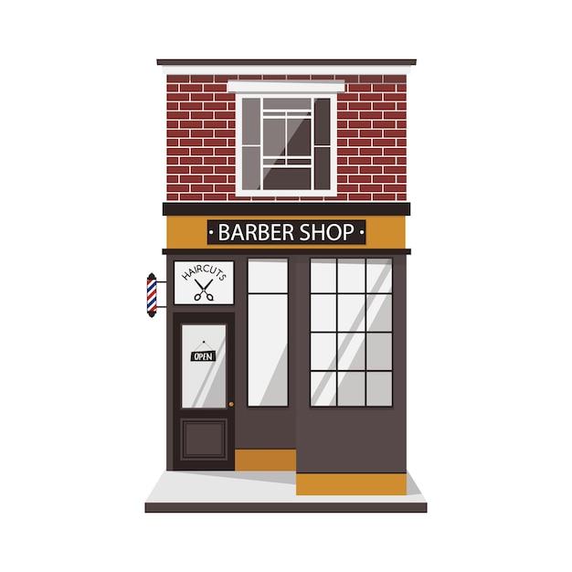 Straßengebäude fassade des friseursalons im vintage-stil. Premium Vektoren