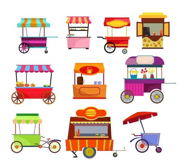 Straßenhändler eingestellt Kostenlosen Vektoren