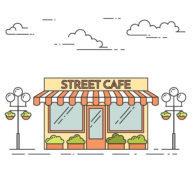 Straßenkaffee mit lampen, blumen auf weißem hintergrund. vektor-illustration linie kunst. Premium Vektoren