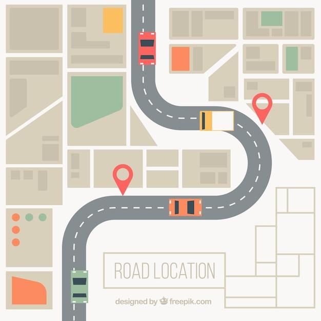 Straßenkarte Hintergrund in entsättigten Farben Kostenlose Vektoren