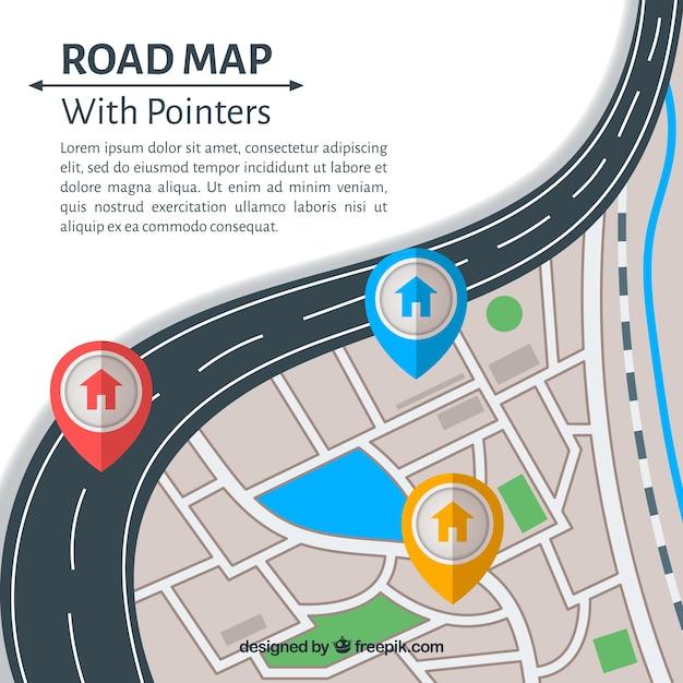 Straßenkarte mit zeigern in der flachen art Kostenlosen Vektoren