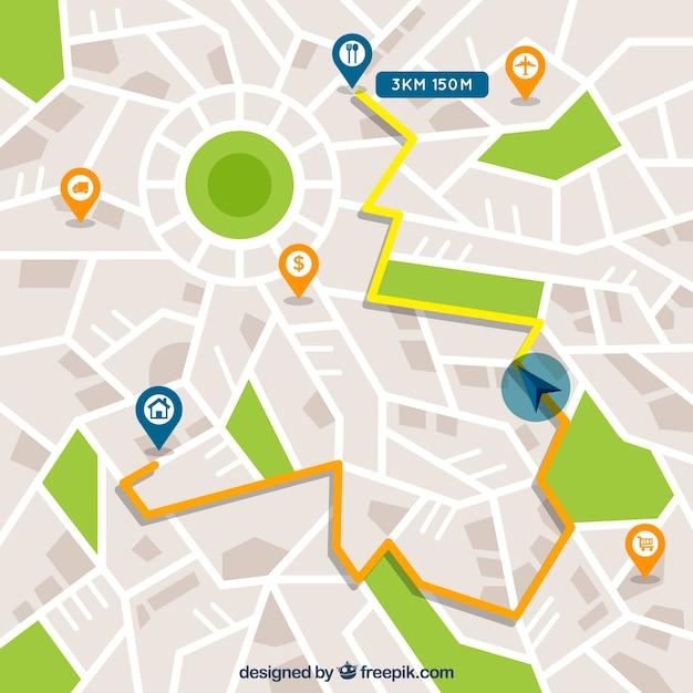 Straßenkarte mit zeigern in der flachen art Premium Vektoren