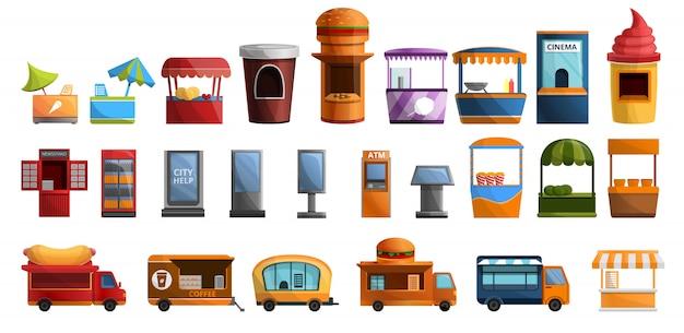 Straßenkiosk-ikonensatz, karikaturart Premium Vektoren