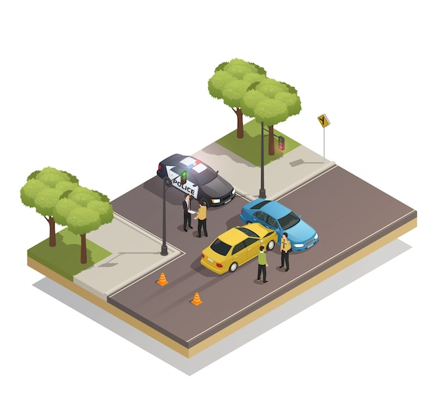 Straßenkollisionsunfall isometrisch Kostenlosen Vektoren