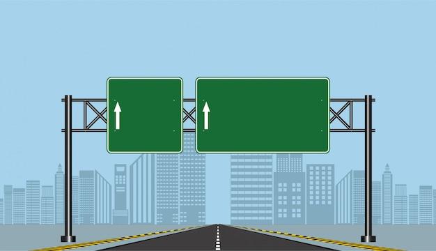 Straßenlandstraßenzeichen, grünes brett auf straße, vektorillustration Premium Vektoren