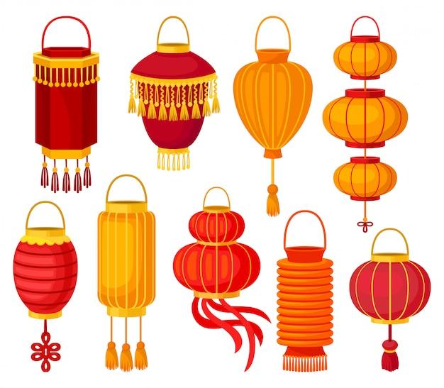 Straßenlaterne des chinesischen papiers der verschiedenen formen, dekorative elemente für festliche illustrationen auf einem weißen hintergrund Premium Vektoren