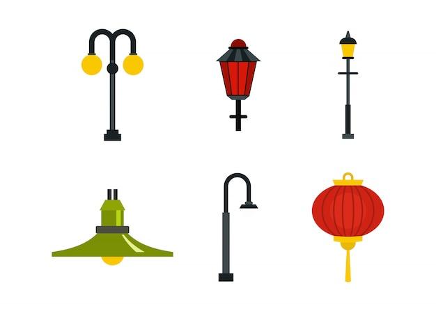 Straßenlaterne-icon-set. flacher satz der straßenlaternenvektor-ikonensammlung lokalisiert Premium Vektoren