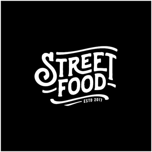 Straßenlebensmittel-kreide-handschrifts-typografie für restaurant-café-barlogo-designvektor Premium Vektoren