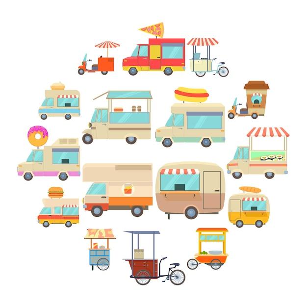 Straßenlebensmittelfahrzeugikonen eingestellt, karikaturart Premium Vektoren