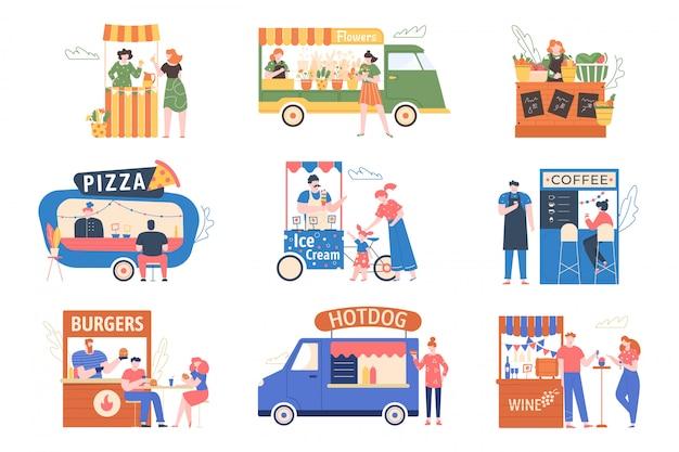 Straßenmarkt. outdoor-thekenmesse, zelte mit lebensmitteln, produkten, kaffee und blumen. charaktere kaufen und verkaufen auf der straßenmesse, marktstraßenillustrationsset. fast-food-kioske, eiswagen Premium Vektoren