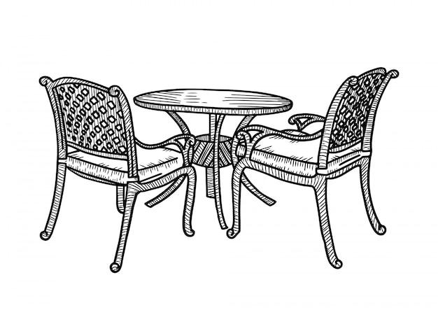 Straßenmöbel im sommercafé. kleiner runder tisch mit zwei korbsesseln. skizze hand gezeichnete illustration. Premium Vektoren