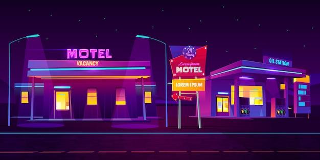 Straßenrandmotel mit dem parkplatz und tankstelle, die nachts mit hellem neonbeleuchtungshintergrund glühen Kostenlosen Vektoren