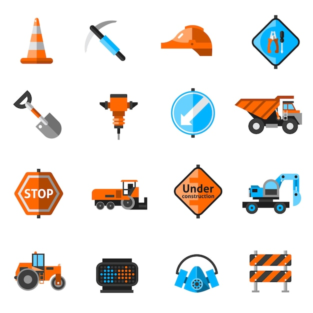 Straßenreparatur-ikonen Kostenlosen Vektoren