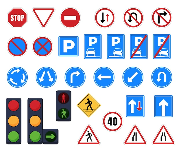 Straßenschilder. haltestelle, parkplatz, verkehrsrichtung, fußgängerüberweg, wegweiser und verbotsschilder. ampel Premium Vektoren