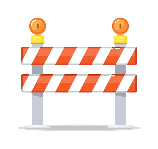 Straßensperre barrikade und warnlichtlampe isoliert Premium Vektoren