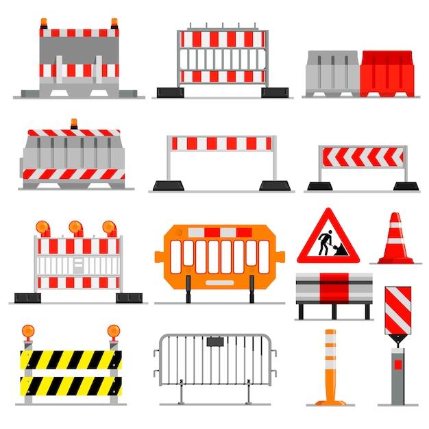Straßensperre straßenverkehrssperre im bau warnung straßensperren auf autobahn illustration satz barrikade umweg und blockierte straßenbau barriere isoliert auf weißem hintergrund Premium Vektoren