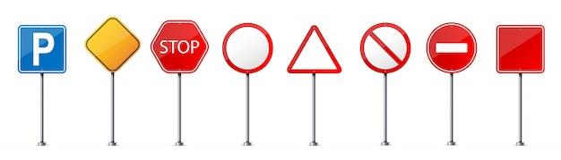 Straßenwarnschild, verkehrsregelungsschablone. Premium Vektoren