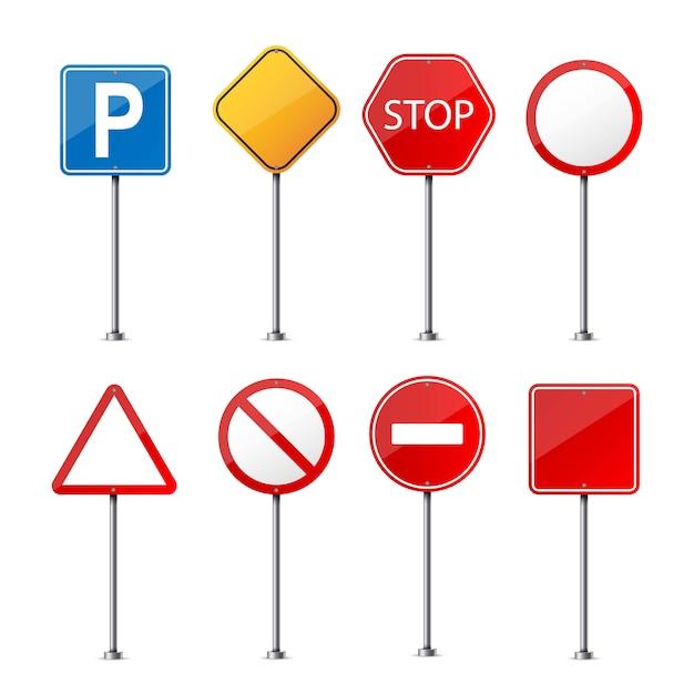 Straßenwarnschild Premium Vektoren