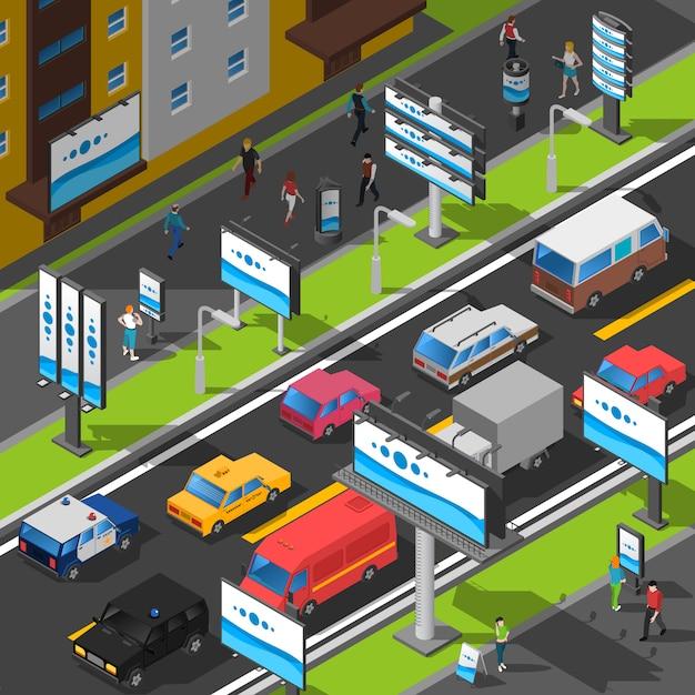 Straßenwerbung isometrische illustration Kostenlosen Vektoren