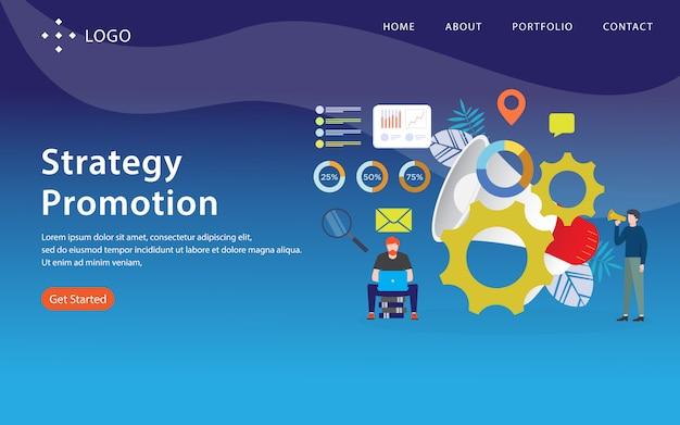 Strategieförderung, websiteschablone, überlagert, einfach zu redigieren und besonders anzufertigen, illustrationskonzept Premium Vektoren