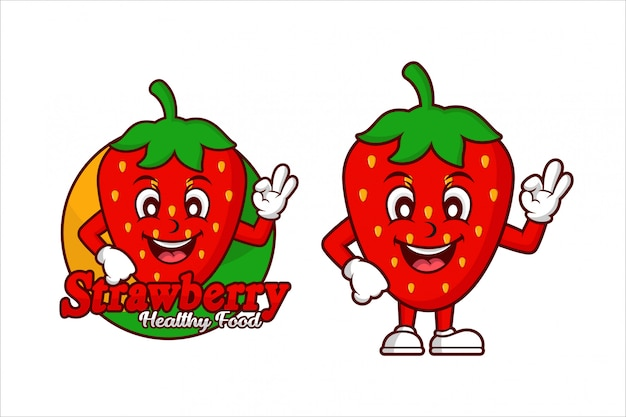 Strawberry healthy food charakter cartoon design logo Premium Vektoren