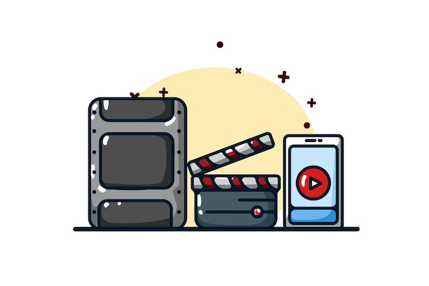 Streaming-symbol und video-illustration Premium Vektoren