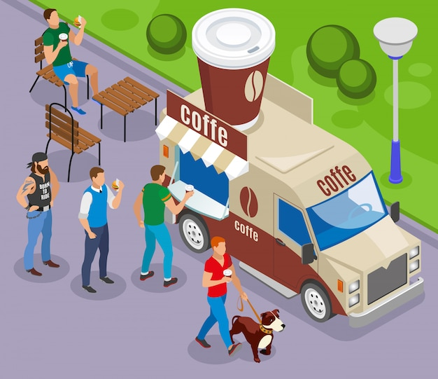 Street food auto mit handel mit kaffee isometrische zusammensetzung mit kunden in der warteschlange Kostenlosen Vektoren