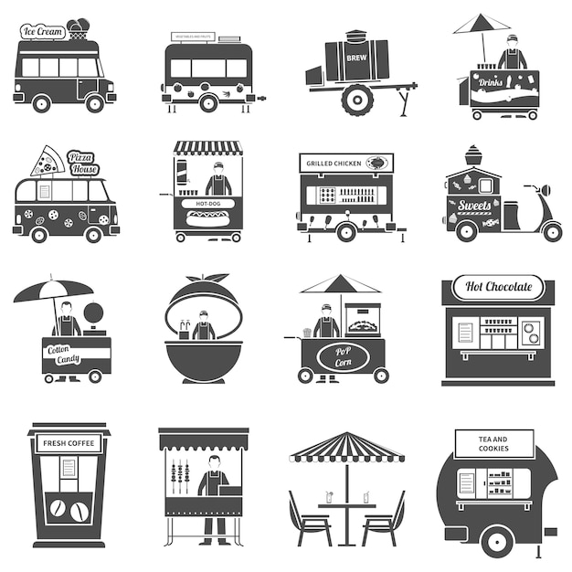 Street food black icons set Premium Vektoren