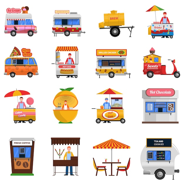 Street food icons set Kostenlosen Vektoren