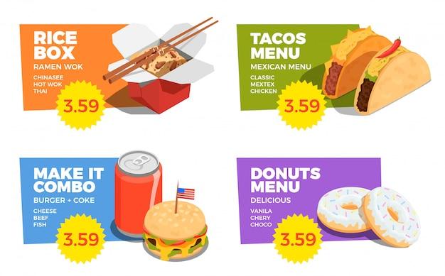 Street food-konzept-set Kostenlosen Vektoren