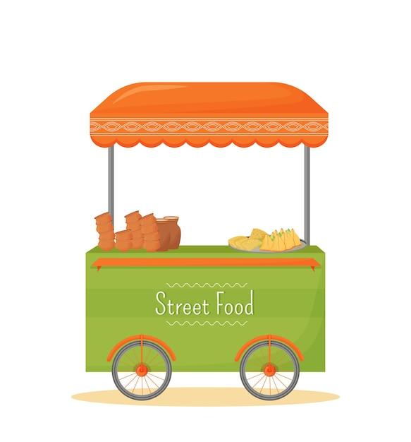 Street food mobile kiosk cartoon. flaches farbobjekt des indischen traditionellen küchenhandelsstandes. straßenhandel, fast-food-zelt auf rädern lokalisiert auf weißem hintergrund Premium Vektoren
