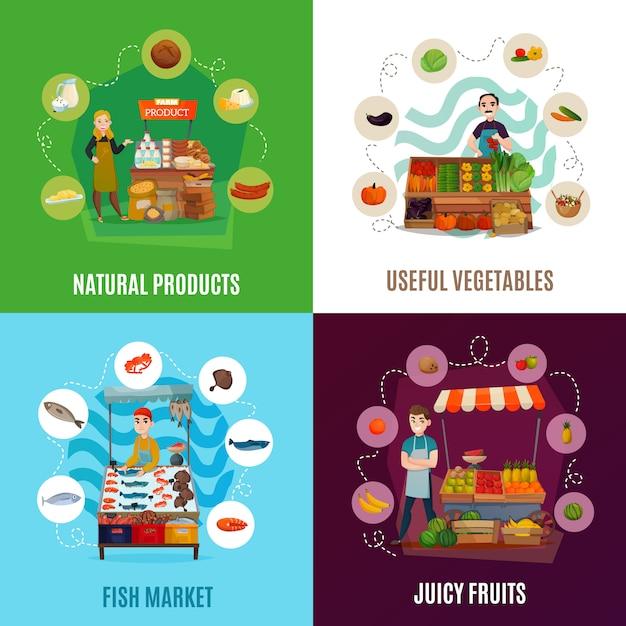 Street food set Kostenlosen Vektoren