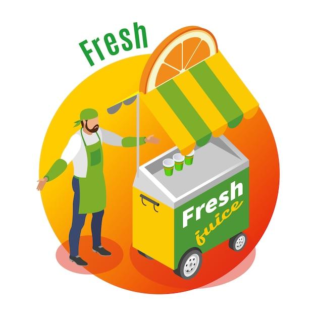 Street food trolley mit verkäufer von frischem saft auf steigungsrunde Kostenlosen Vektoren