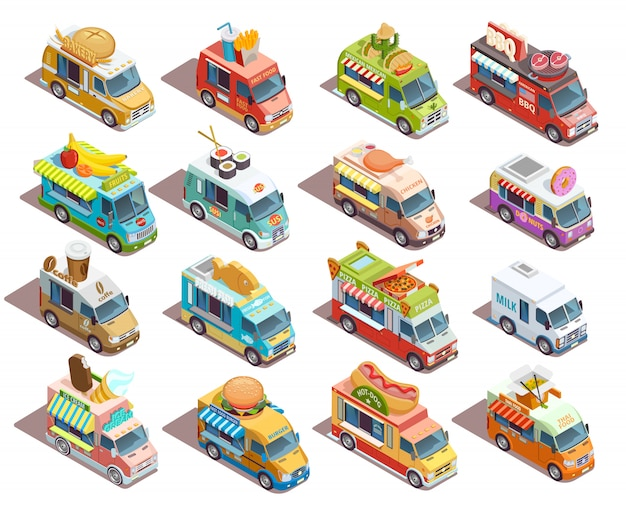 Street food trucks isometrische ikonen-sammlung Kostenlosen Vektoren