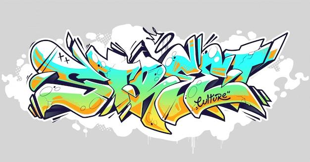 Street graffiti schriftzug art Premium Vektoren
