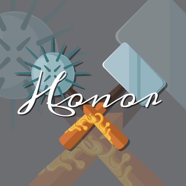 Streitkolben und hammer Premium Vektoren