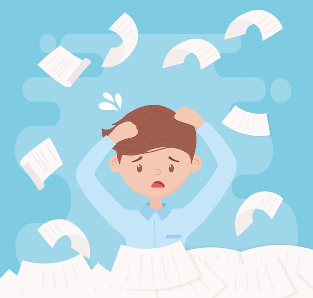 Stress bei der arbeit, verärgerte arbeiter stapeln papiere und dokumente Premium Vektoren