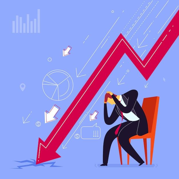 Stress durch geschäftliches scheitern Premium Vektoren