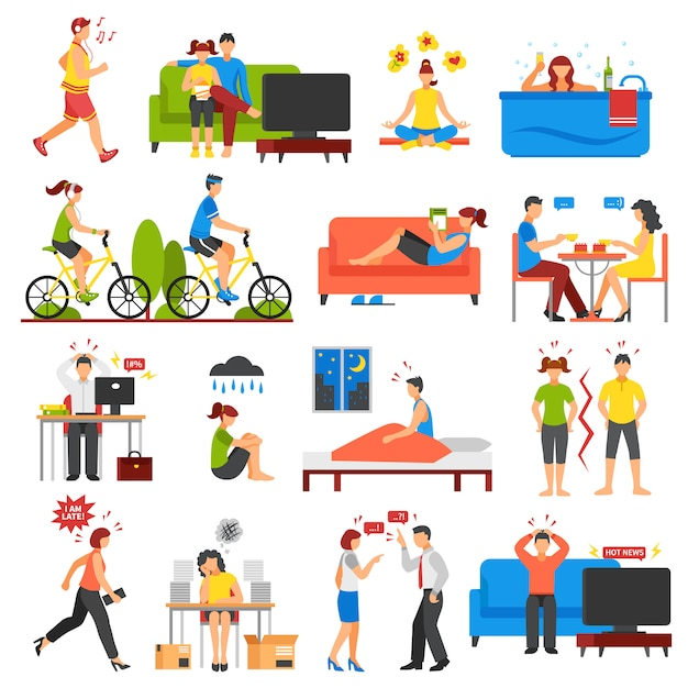Stress- und entspannungsset Kostenlosen Vektoren