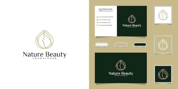 Strichkunstschablone und visitenkarte des schönheitsöls und des weiblichen gesichtslogos Premium Vektoren