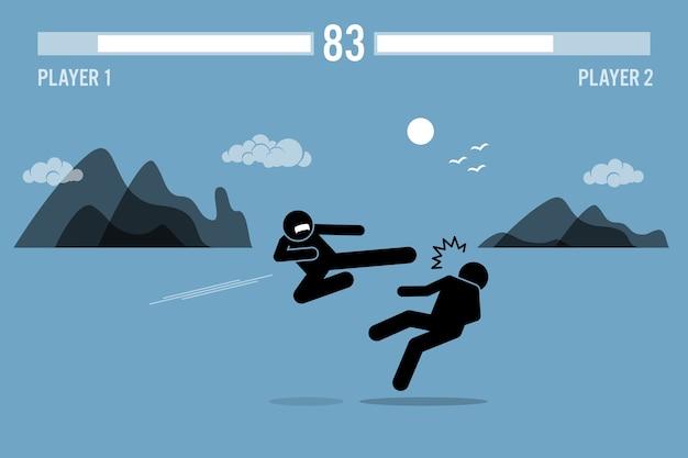 Strichmännchen-kämpfer, die in einem spiel kämpfen. strichmännchen-kämpfer, die in einer videospielszene mit gesundheitsbalken oben kämpfen. Premium Vektoren