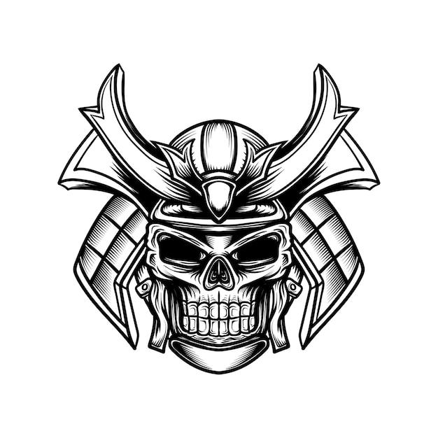 Strichzeichnungen eines schädels mit einem samurai-helm Premium Vektoren