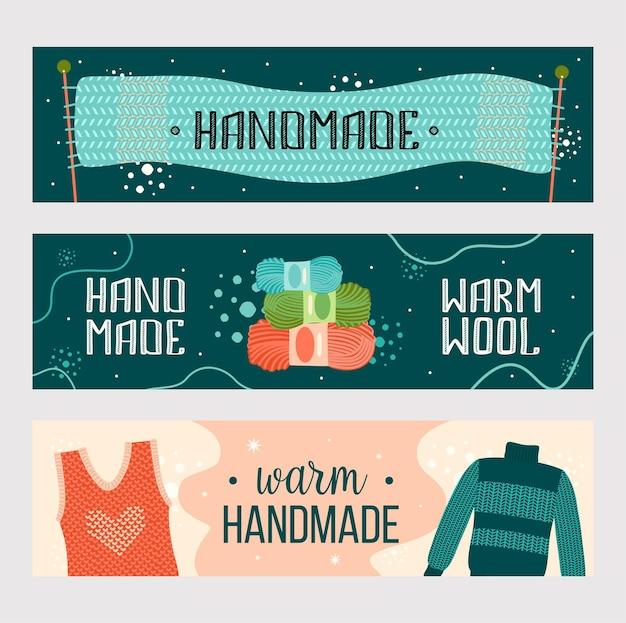 Strick handgefertigte kleidung banner gesetzt. warmer schal, garn, pullover flyer vorlage Kostenlosen Vektoren