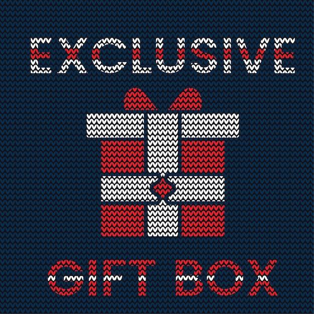 Strickmuster der exklusiven weihnachtsgeschenkbox Premium Vektoren