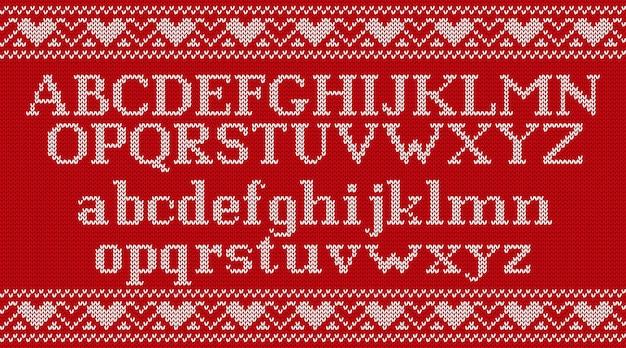 Strickschrift auf weihnachten gestrickten hintergrund, Premium Vektoren