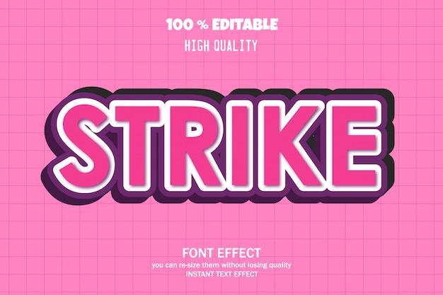Strike-text, bearbeitbarer font-effekt Premium Vektoren