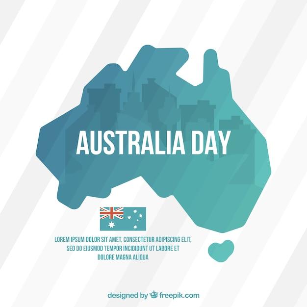 Striped hintergrund mit karte für australien-tag Kostenlosen Vektoren